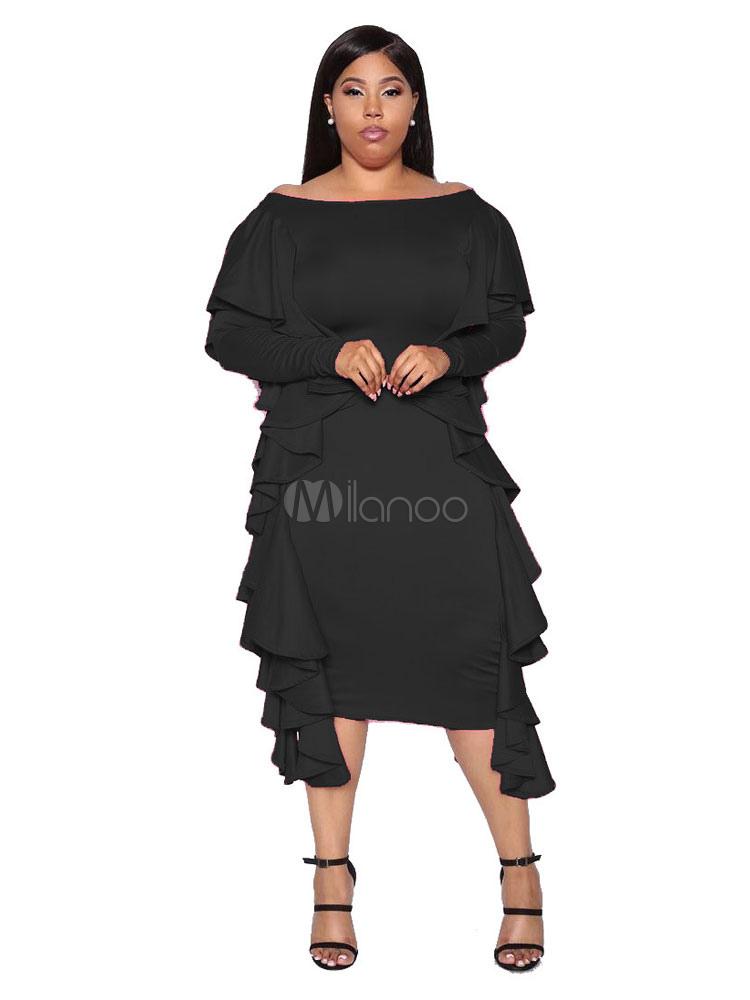 Plus Size Black Dress Long Sleeve Bodycon Dress Bateau Neck Ruffles Shaping  Long Dress