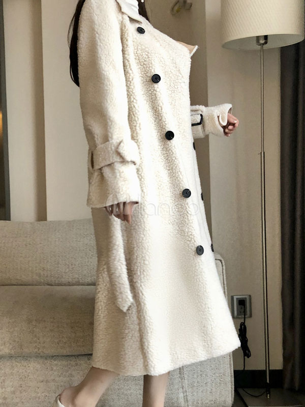 white teddy bear coat double breasted buttons buckle belt. Black Bedroom Furniture Sets. Home Design Ideas