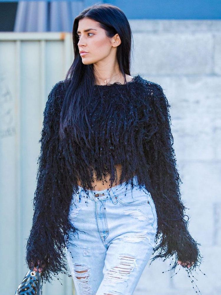 più recente 68b96 9f2fd Maglione di pullover lanuginoso maglione sfilacciato donna frange maglione