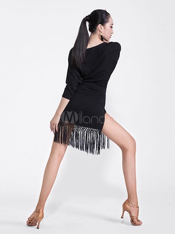 3240148b1 ... Latin Dance Costume Black Long Sleeve Tassels Dancing Dress And Sash  Halloween-No.5