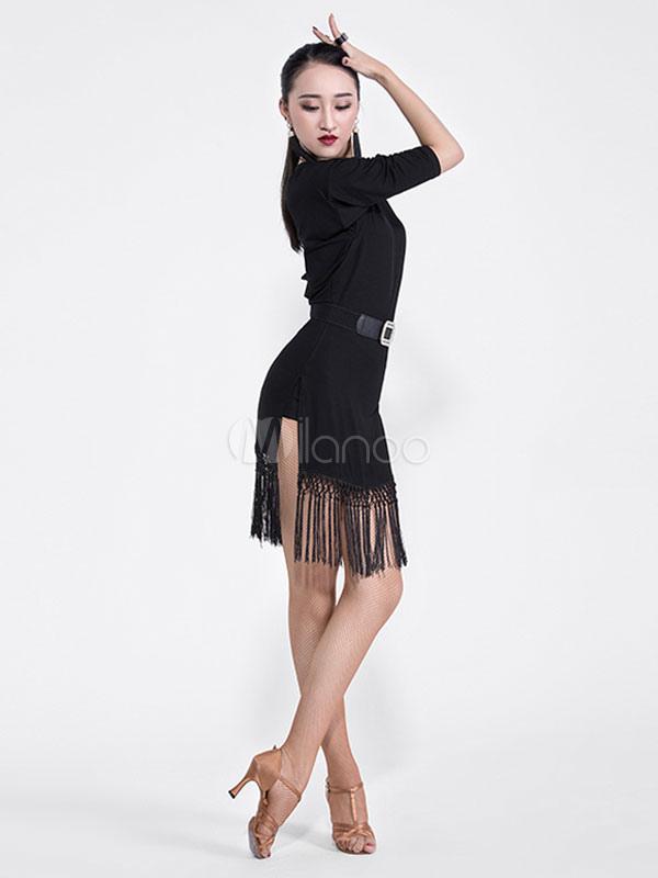 aaaef9cfc ... Latin Dance Costume Black Long Sleeve Tassels Dancing Dress And Sash  Halloween-No.2 ...