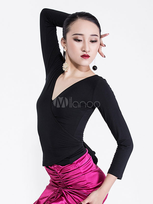8fccb0097 ... Latin Dancing Top Women V Neck Black Long Sleeve Dancing Costumes-No.4  ...
