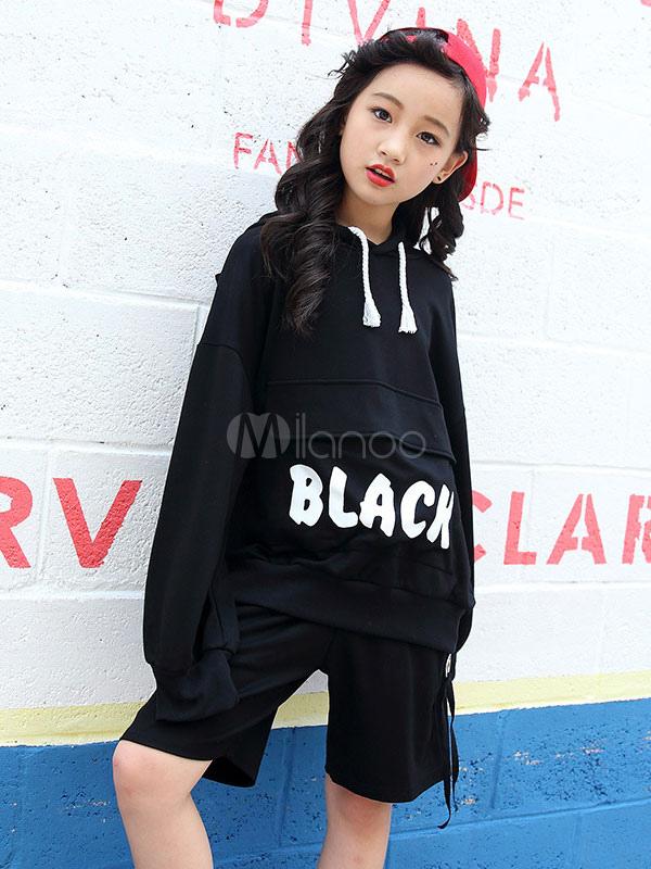 premium selection 37366 beb4e Jazz Dance Kostüm Kinder Hip Hop Kleidung Black Street Dancing Outfit  Hoodie und Shorts Halloween