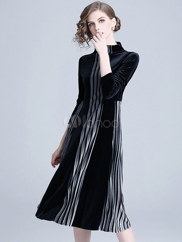 100% authentic 8fc0a 5bd98 Schwarzes Velour Kleid Langarm Midikleid Stehkragen Gestreiftes Partykleid