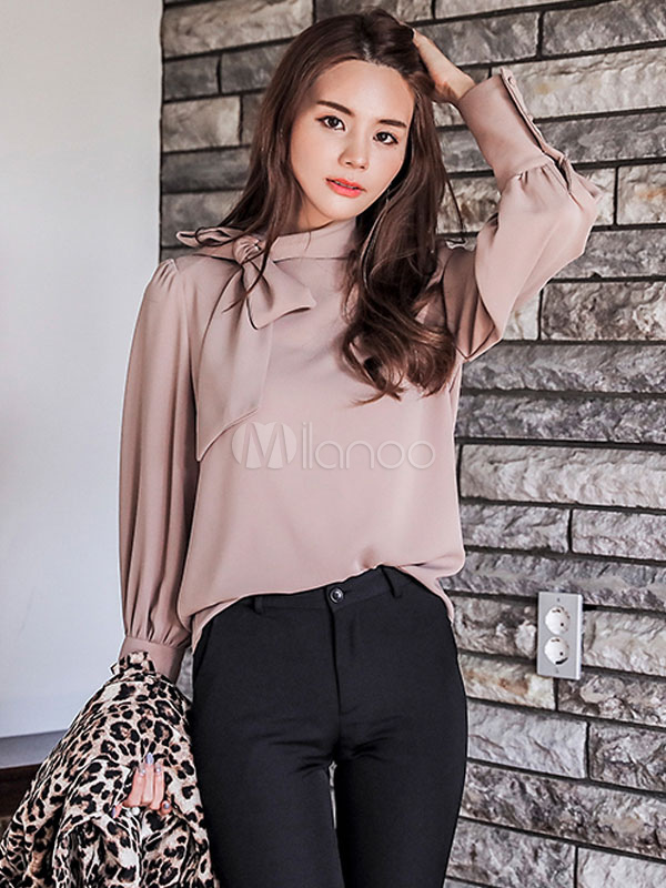 516b078c05427a Women Pink Blouses Long Sleeve Pussy Bow Collar Knotted Casual Top-No.1 ...