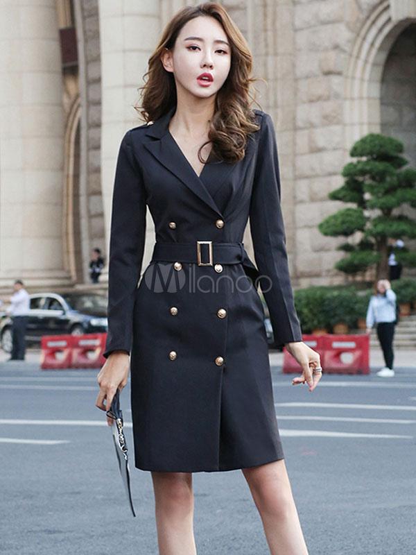 59d071652123 Vestito aderente da donna 2019 Abito da lavoro nero con maniche lunghe doppio  petto e abito ...