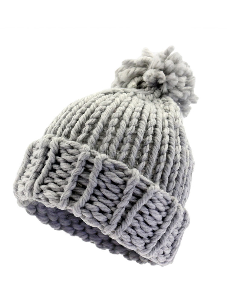 277763b3528 Men Bobble Hat Pom Pom Chunky Knit Winter Beanie - Milanoo.com