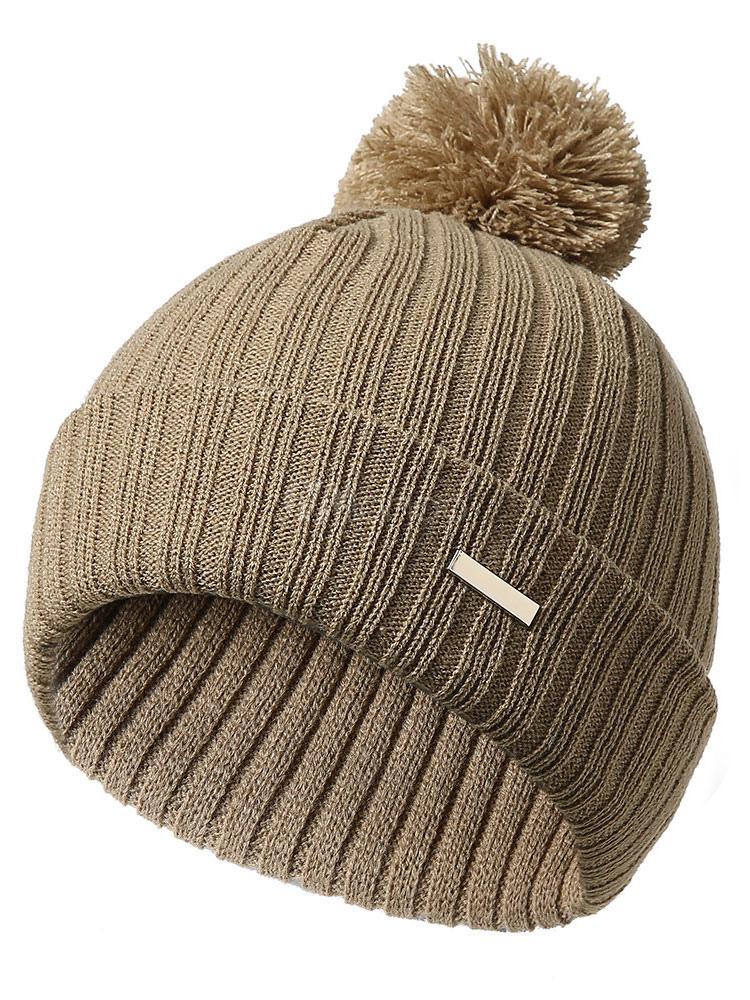 890cf64b012 Men Bobble Hat Pom Pom Khaki Knit Beanie - Milanoo.com