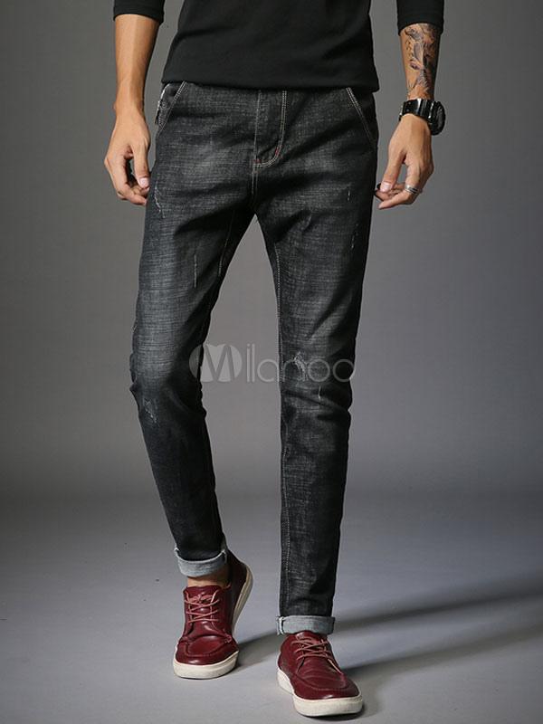 d0a7c8bc86 Pantalones vaqueros de pierna recta desgastado rasguño Jean de mezclilla  negro para hombres-No.