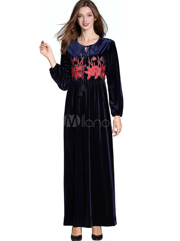 ef8686bf8065 Long Sleeve Velour Drss Embroidered Round Neck Knotted Maxi Dress-No.1 ...