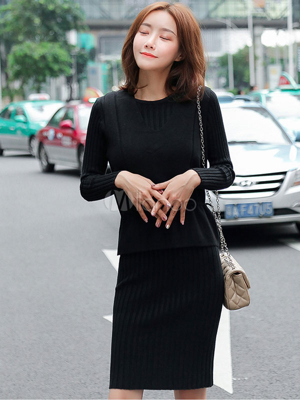 307caea9359d94 Women Two Piece Set Long Sleeve Round Neck Shaping Sweater Dress With  Waistcoat-No.