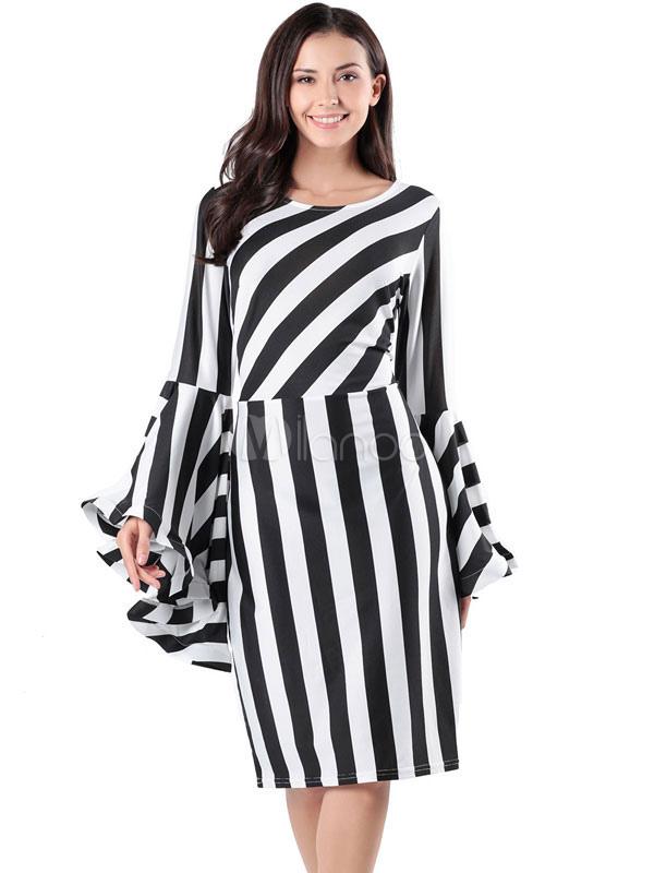 Vestido De Manga Ajustado Fiesta Con A Negro Rayas mI67yYgbfv