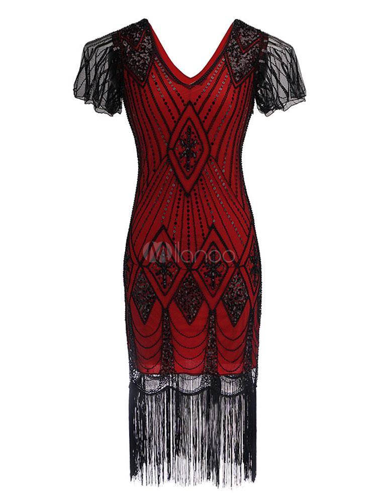 e948d67d162 Great Gatsby Costume 1920s Flapper Dress Halloween Vintage Women Sequin  Tassels V Neck Short Sleeve Dresses ...