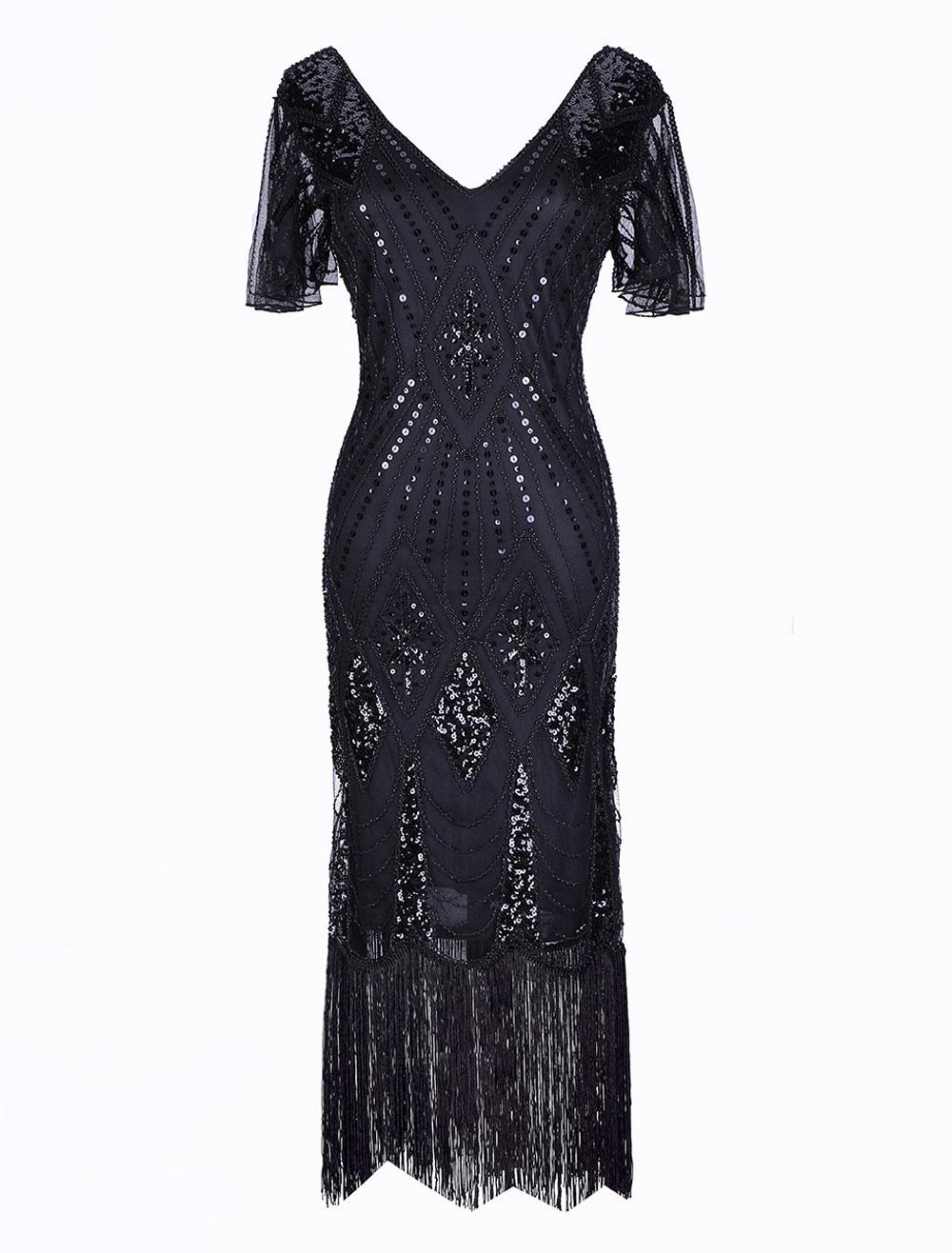 7f54006029b ... 1920s Flapper Dress Great Gatsby Vintage Costume Halloween Women Sequin  Tassels V Neck Short Sleeve Dresses. 12. 40%OFF. Color Black