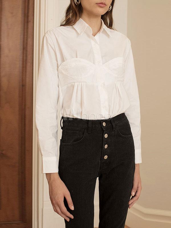 889ec17afa Camisa de vestir blanca con botones