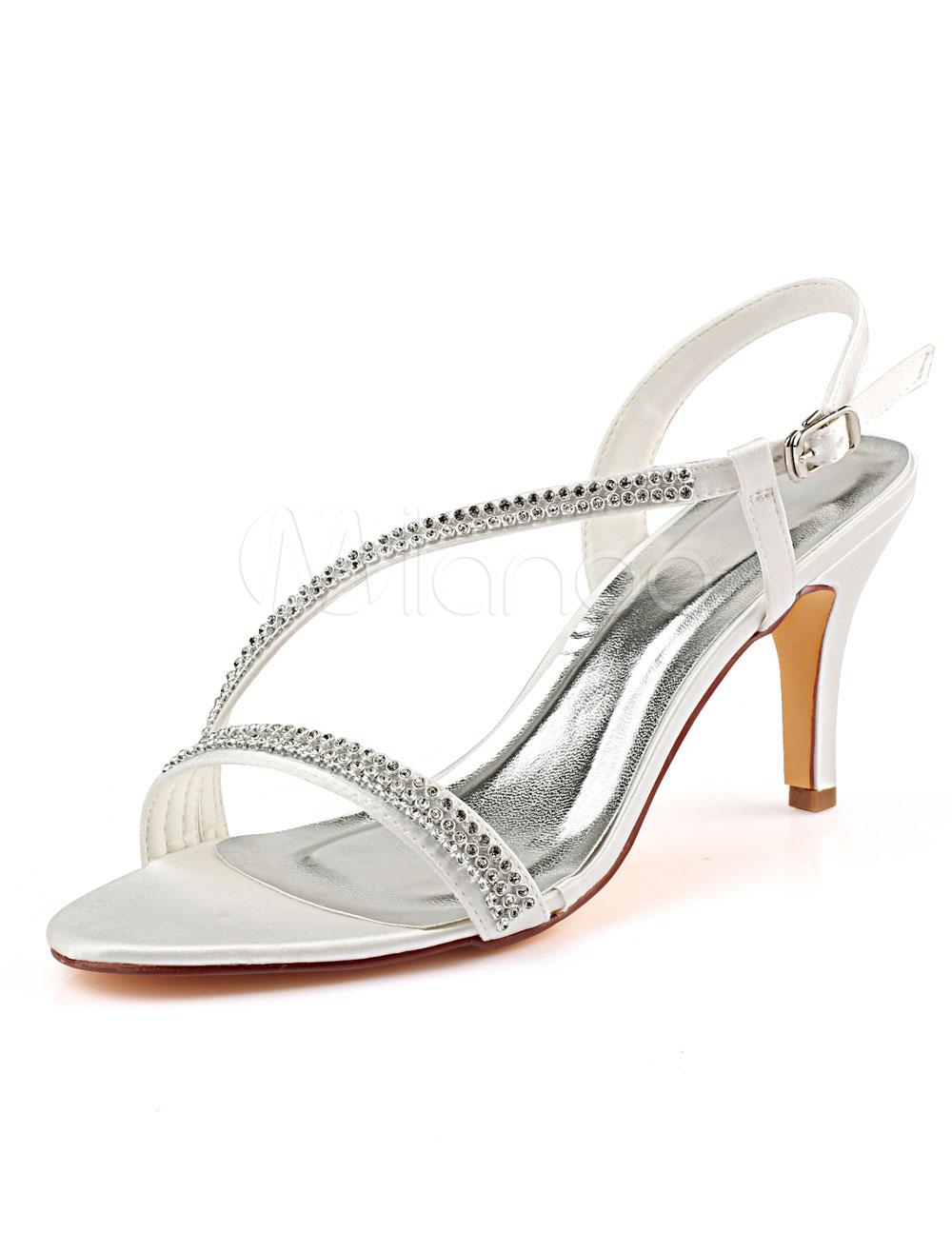 9b4f27c0e2 Ivory Wedding Shoes Satin Open Toe Rhinestones Bridal Shoes High Heel  Sandals