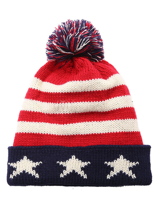 61e2ef7fa8f Men Bobble Hat Pom Pom Patterned Navy Blue Knit Beanie Hat - Milanoo.com