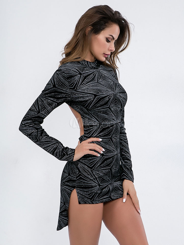 Schwarzes figurbetontes Kleid Langarm-Rundhalsausschnitt ...