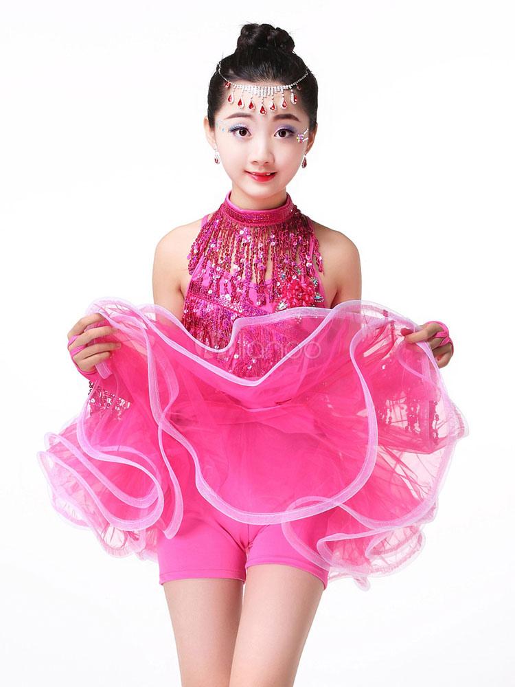 f71142443 Traje de baile latino amarillo para niños borlas vestidos de tutú para  niñas Halloween
