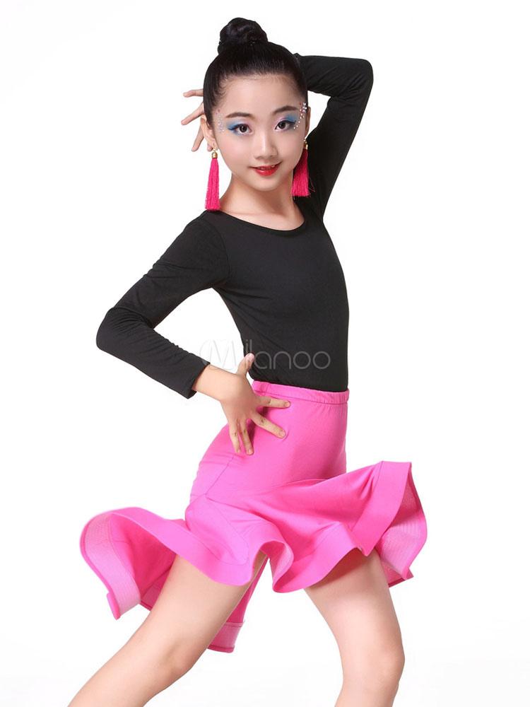 Latin Dance Costume Kids Girls Long Sleeve Top Mermaid Skirt Outfit  Halloween