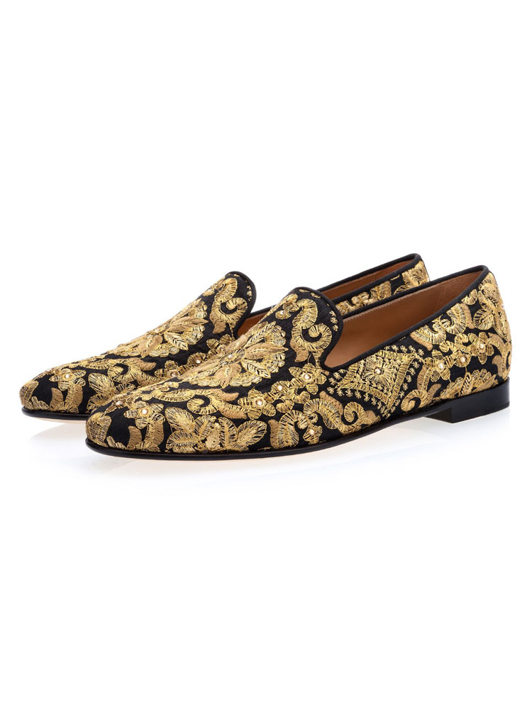 cf65a67660 Black And Gold Loafers Men Slip On Loafers Round Toe Embroidered Prom Shoes