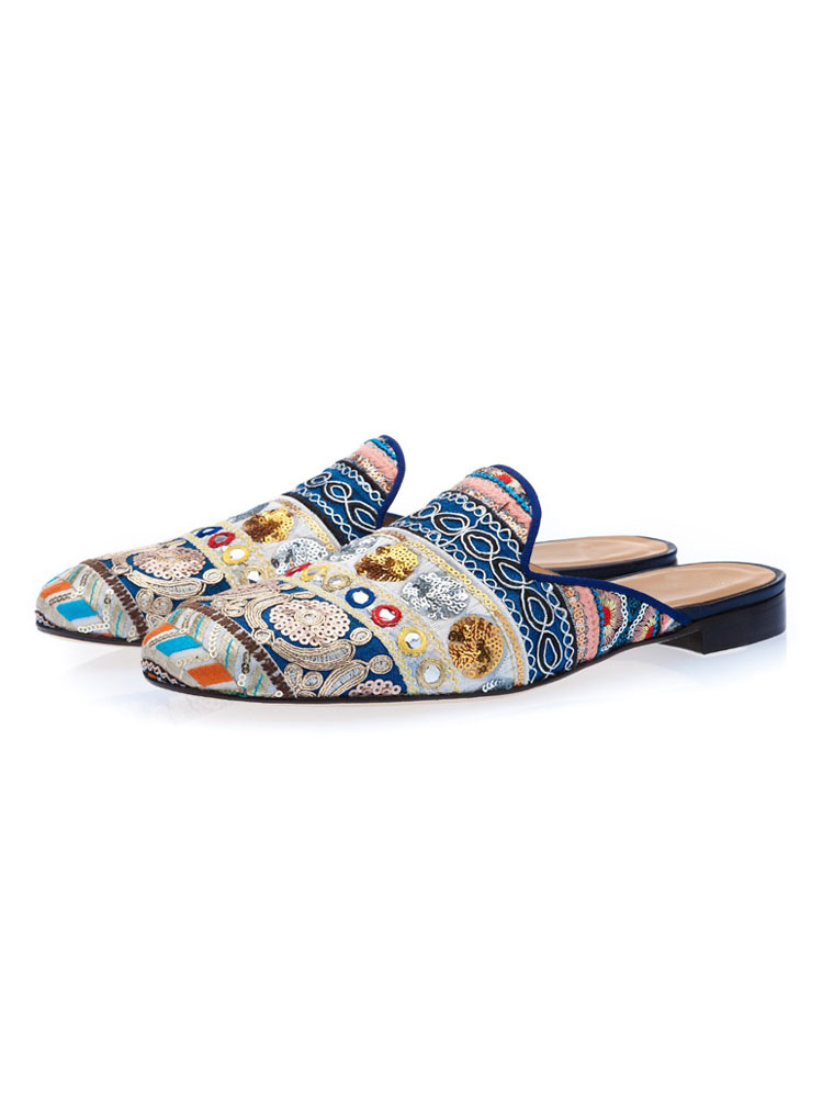 638dcf9c716 Men Mule Loafers Blue Round Toe Sequin Ethnic Embroidered Backless Mule  Shoes-No.1 ...