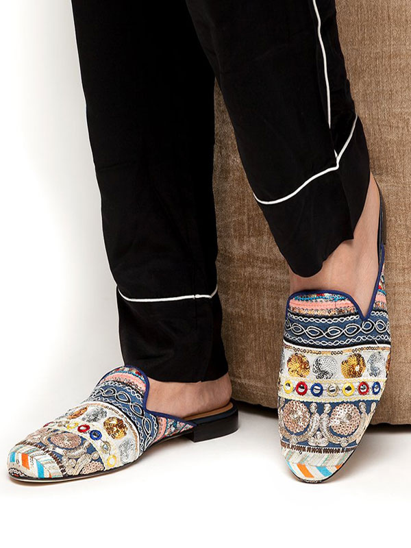 611d3ba6a4d ... Men Mule Loafers Blue Round Toe Sequin Ethnic Embroidered Backless Mule  Shoes-No.2 ...