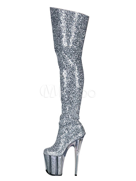 a1c913142f02 Glitter Sexy Boots Silver Platform Almond High Heel Over The Knee Boots  Women Thigh High Boots