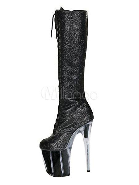 d86a20c84d3e Glitter Knee High Boots Black Platform Sky High Lace Up Boots Women Sexy  Boots-No