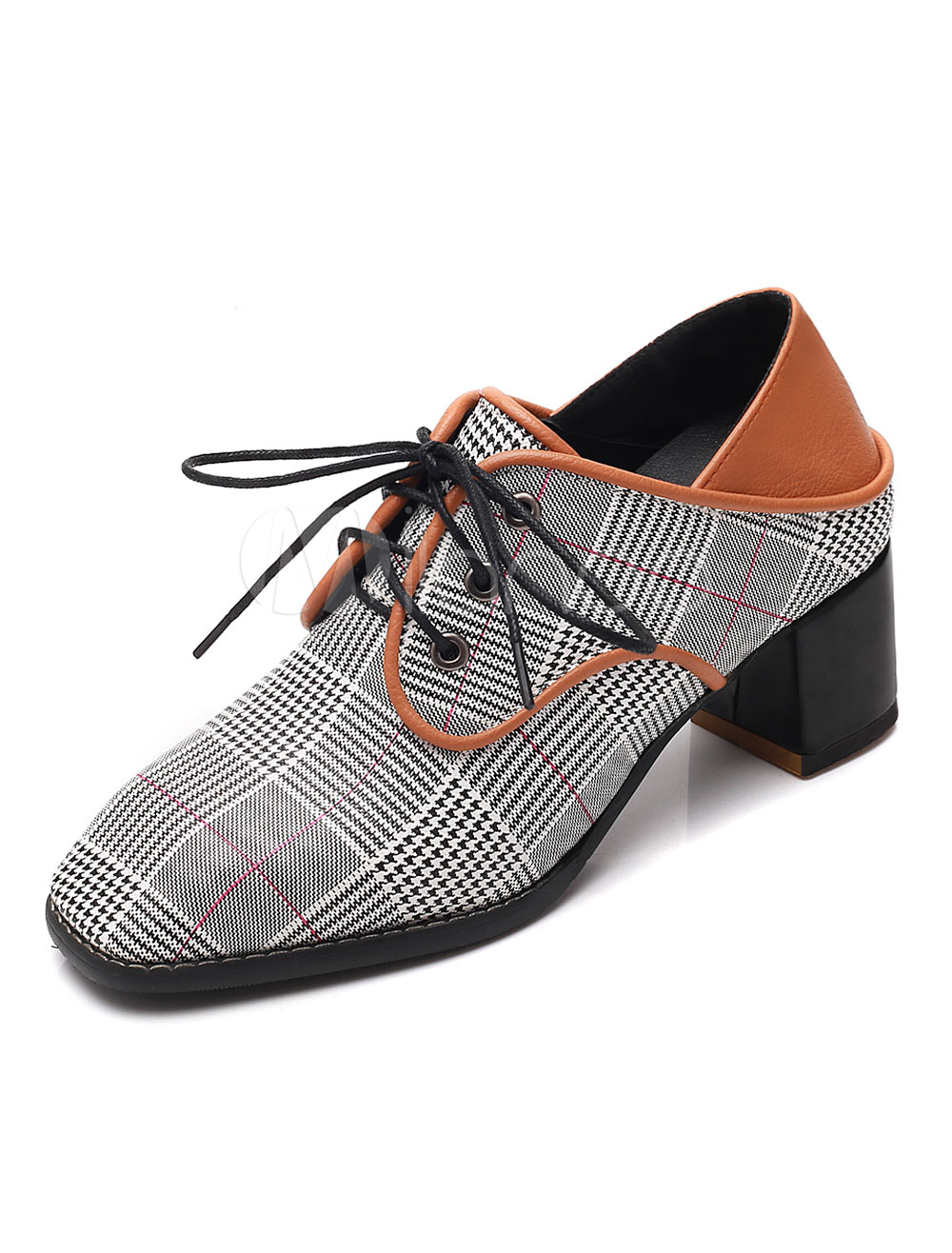37ed1253bbafd Brown Oxford Shoes Women Square Toe Plaid Lace Up Shoes Casual Shoes