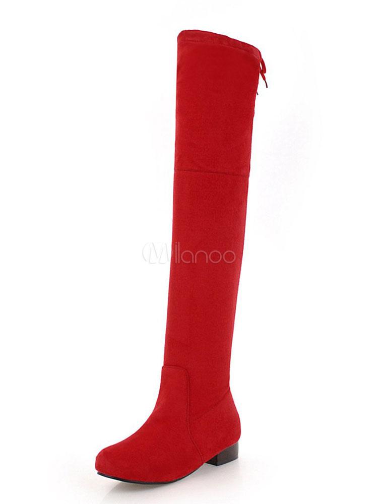 Rote Overknee Stiefel Wildleder runde Spitze Schnürstiefel Flache Stiefel Damen Schuhe