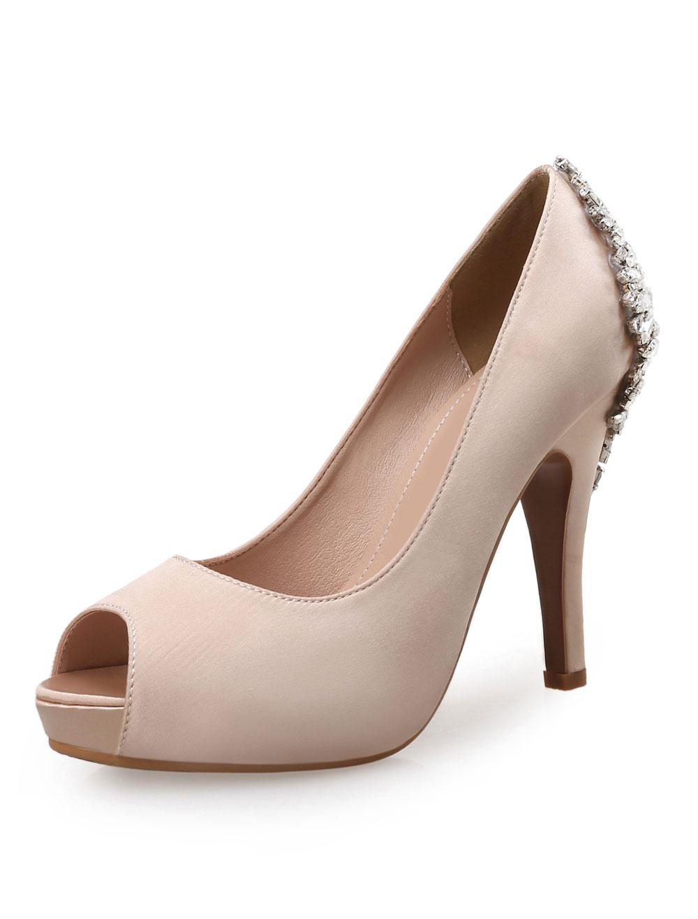 new styles c90f8 a642f Weiße Hochzeitsschuhe Satin Peep Toe Strass High Heel Abendschuhe Damen  Party Schuhe