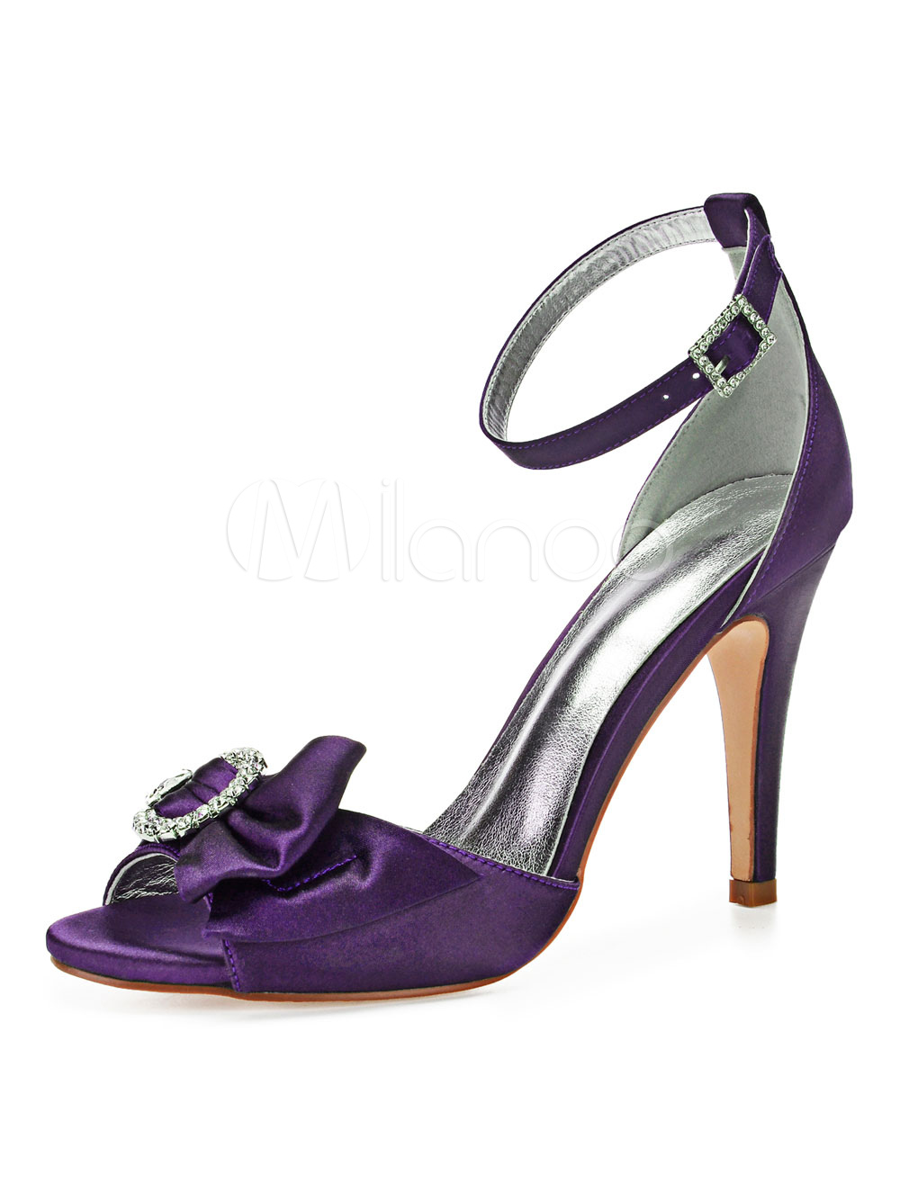 Purple Wedding Heel.Purple Wedding Shoes Satin Peep Toe Bow Rhinestones Ankle Strap Bridal Shoes High Heel Mother Shoes
