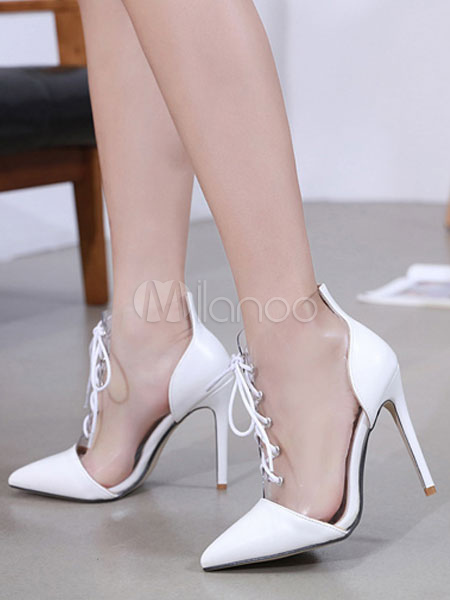 f2845eaca7f White Ankle Boots Women Pointed Toe Lace Up Patchwork Clear Boots High Heel  Sandal Booties
