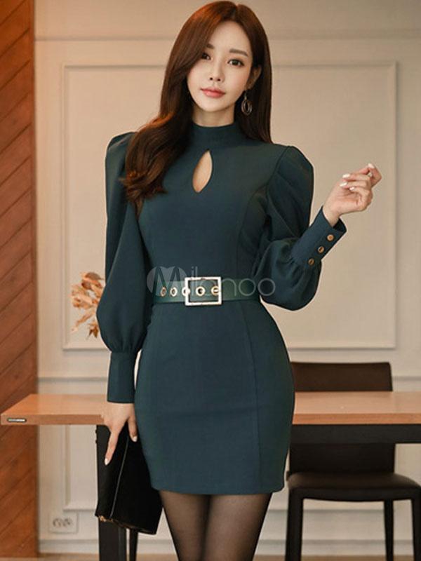 3ab092a31 Vestido ajustado de manga larga Cuello alto Botones recortados con forma de mini  vestido-No ...