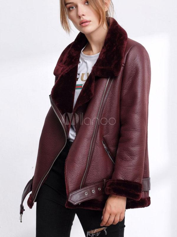 4a2cefc9afa Женщины Aviator пальто отложной воротник зимнее пальто PU кожаное пальто-No.1  ...