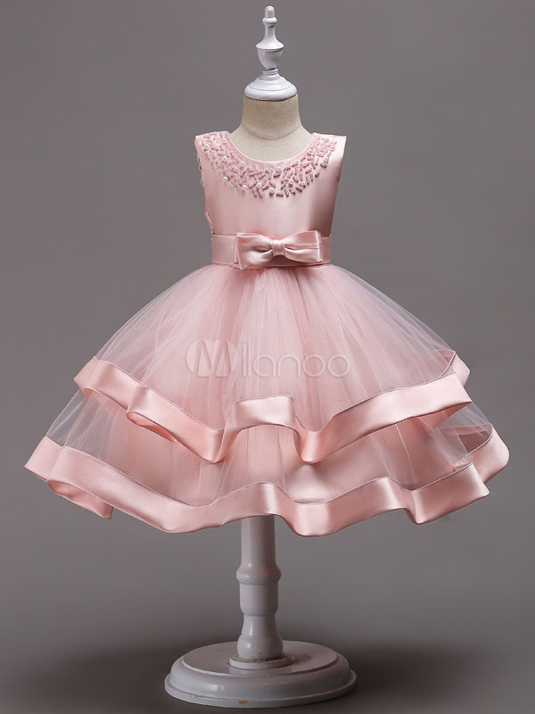 cbcb3cf78 Pink Flower Girl Dresses Pearls Beading Tulle Bows Kids Princess Social  Party Dress-No.