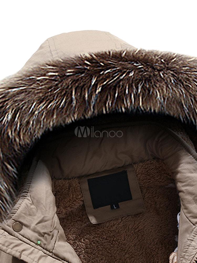 Cappotto Parka 2019 Cachi Cappotto Furry Cappuccio con Coulisse Invernale Soprabito Imbottito Foderato Cappotto Uomo Foderato