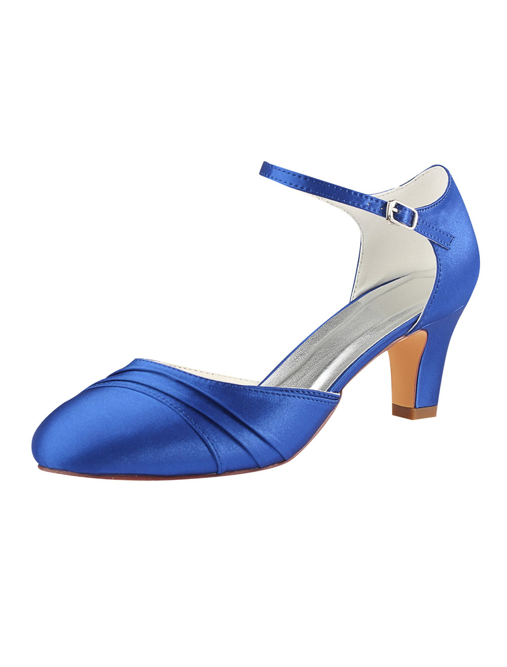 Scarpe Da Sposa Blu.Scarpe Da Sposa 2020 In Raso Blu Royal Fibbia Punta Rotonda