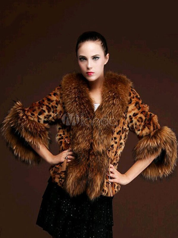 Leopard Faux Fur Jacket Women V Neck Fuzzy Jacket by Milanoo