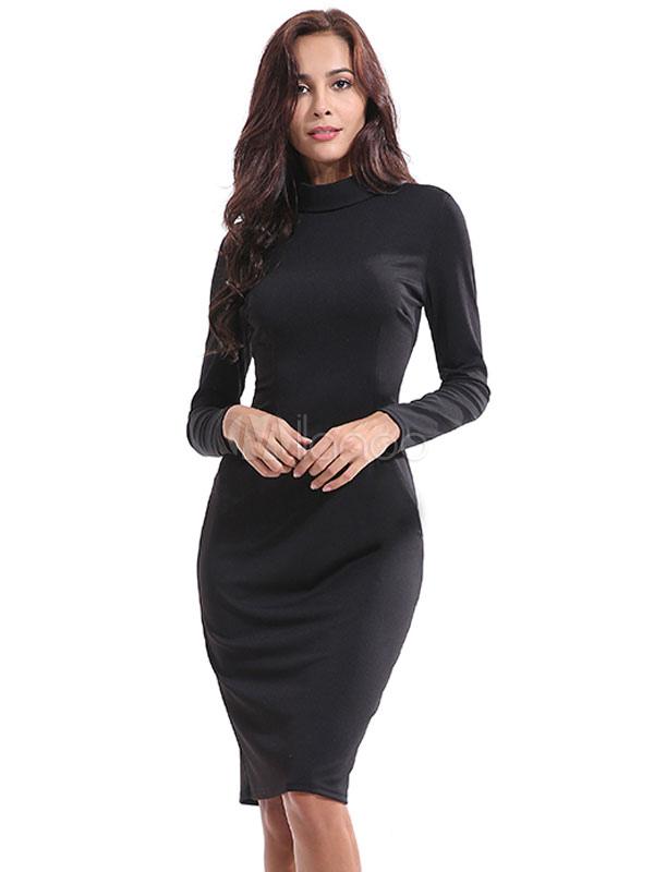 Black Bodycon Dress Long Sleeve Crewneck Shaping Midi Dress