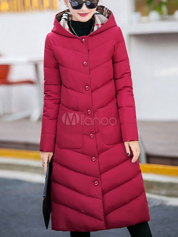 2b745dfc3 Women Puffer Coat Hooded Winter Coat Buttons Longline Bubble Coat
