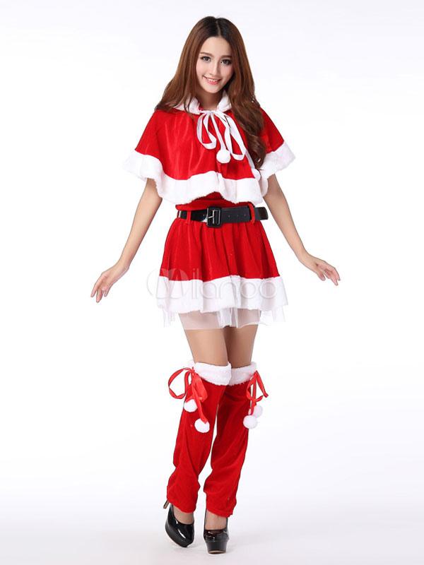 e3f3a08775c Christmas Costume Women Santa Claus Cosplay Dress Poncho Outfit 4 Piece Set  Girls Xmas Costumes- ...