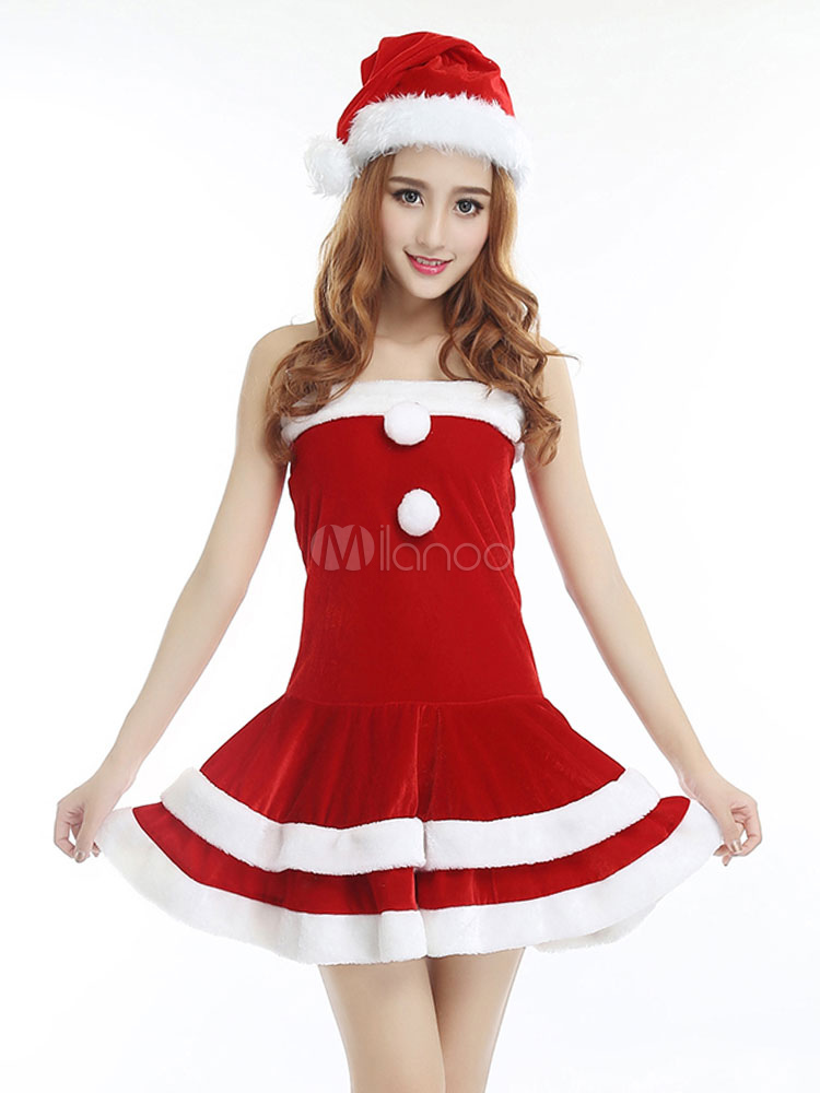f04a25c7597 Christmas Costume Women Santa Claus Dresses Hat 2 Piece Set Girls Xmas  Costumes Halloween