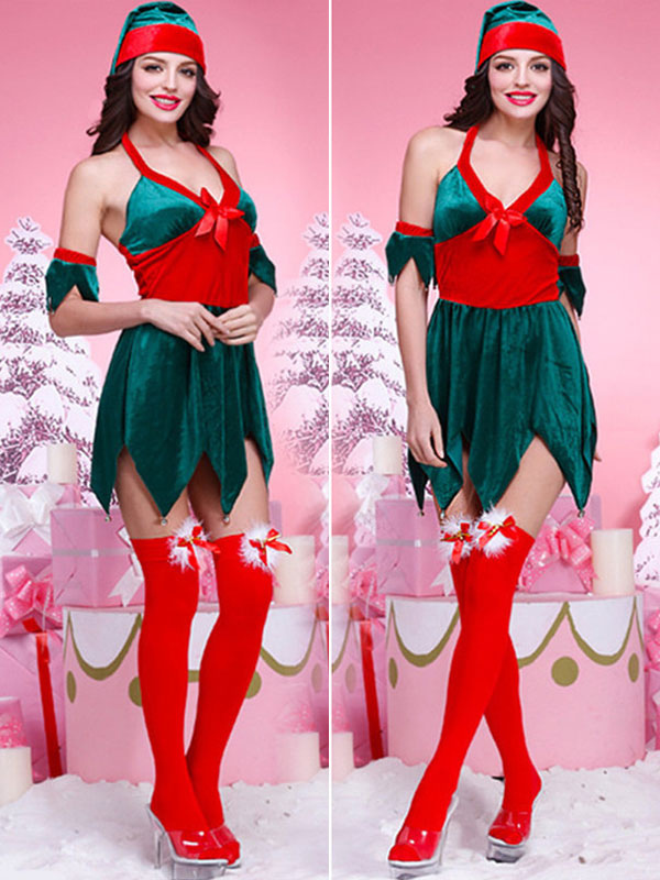 Adult Elf Costume 3pc Accessories Christmas Fancy Dress Xmas Stockings Shoes Hat