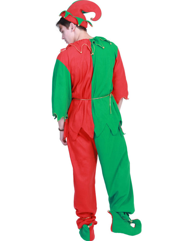 Christmas Elf Costume.Christmas Elf Costume Men Contrast Color Outfit 4 Piece Set Halloween