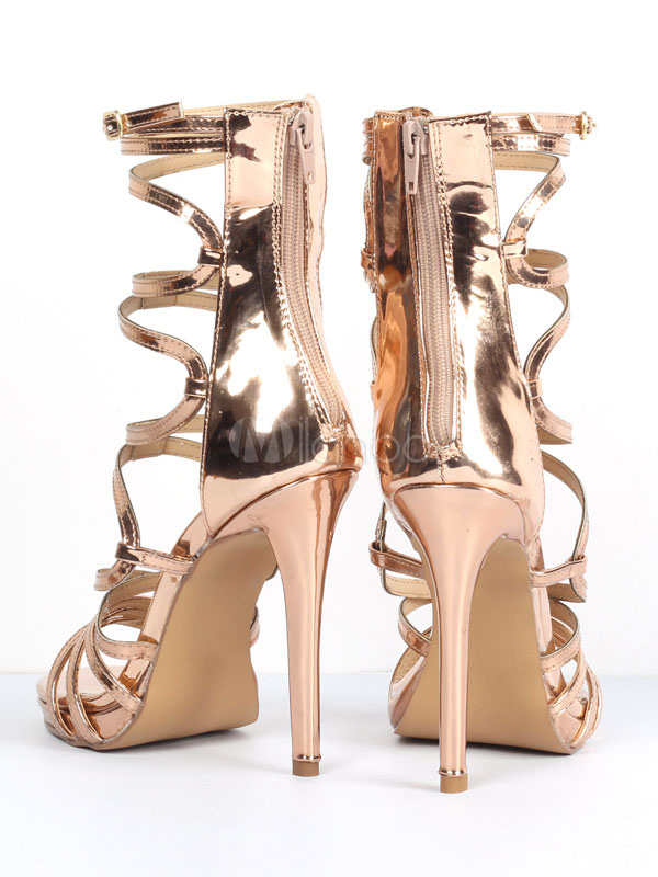 4a3519addb7400 ... Gold Gladiator Sandals Women Open Toe Cut Out Strappy Sandal Shoes High  Heel Sandals-No ...