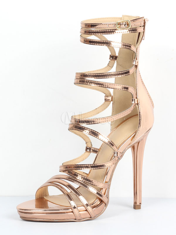 21d4e6a68c0821 Gold Gladiator Sandals Women Open Toe Cut Out Strappy Sandal Shoes High  Heel Sandals-No ...