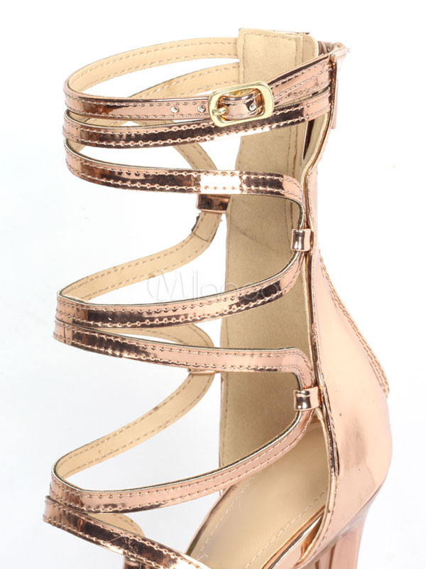 184f7d7d817a44 ... Gold Gladiator Sandals Women Open Toe Cut Out Strappy Sandal Shoes High  Heel Sandals-No