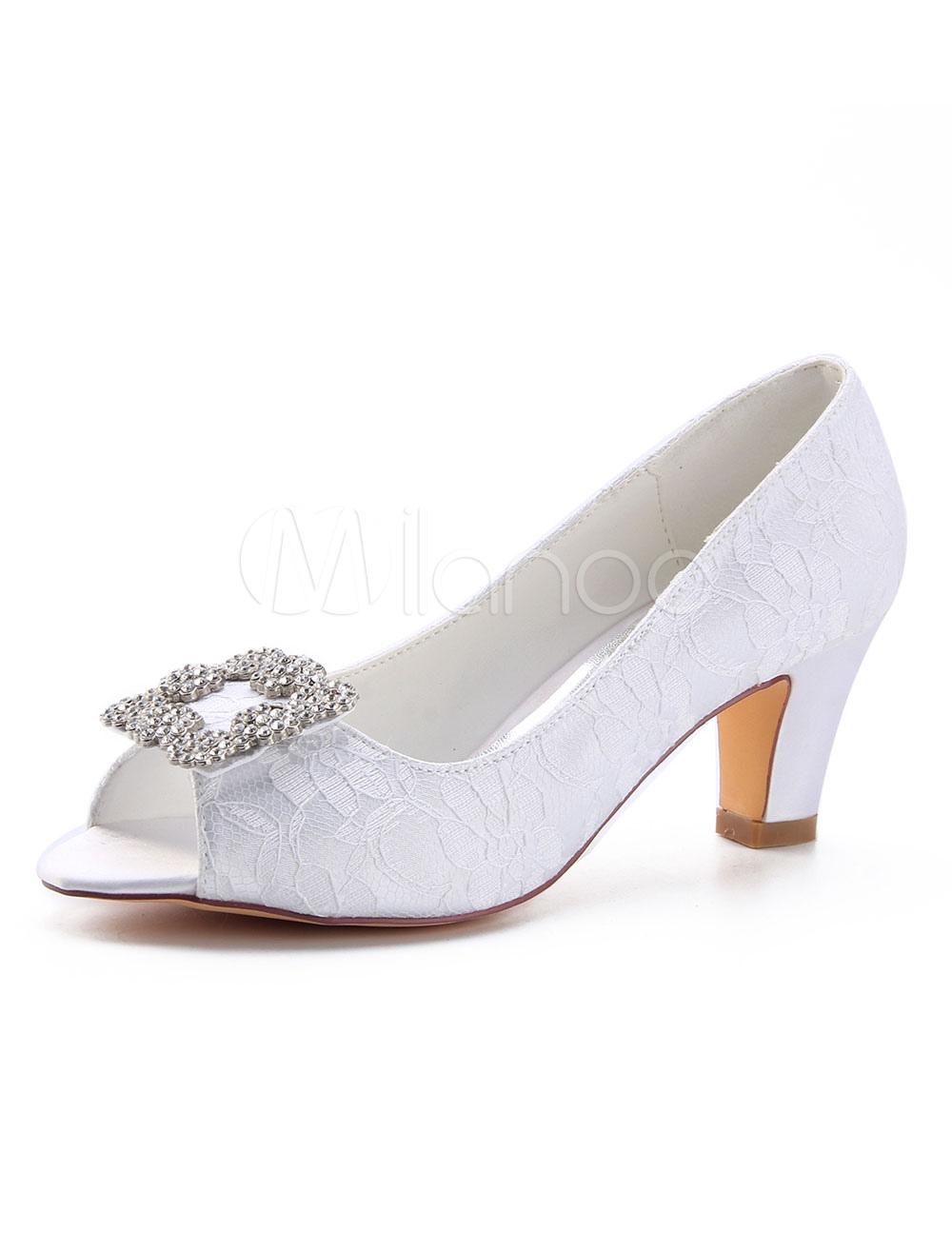 697f71a56c Ivory Wedding Shoes Peep Toe Rhinestones Slip On Bridal Shoes Mother ...